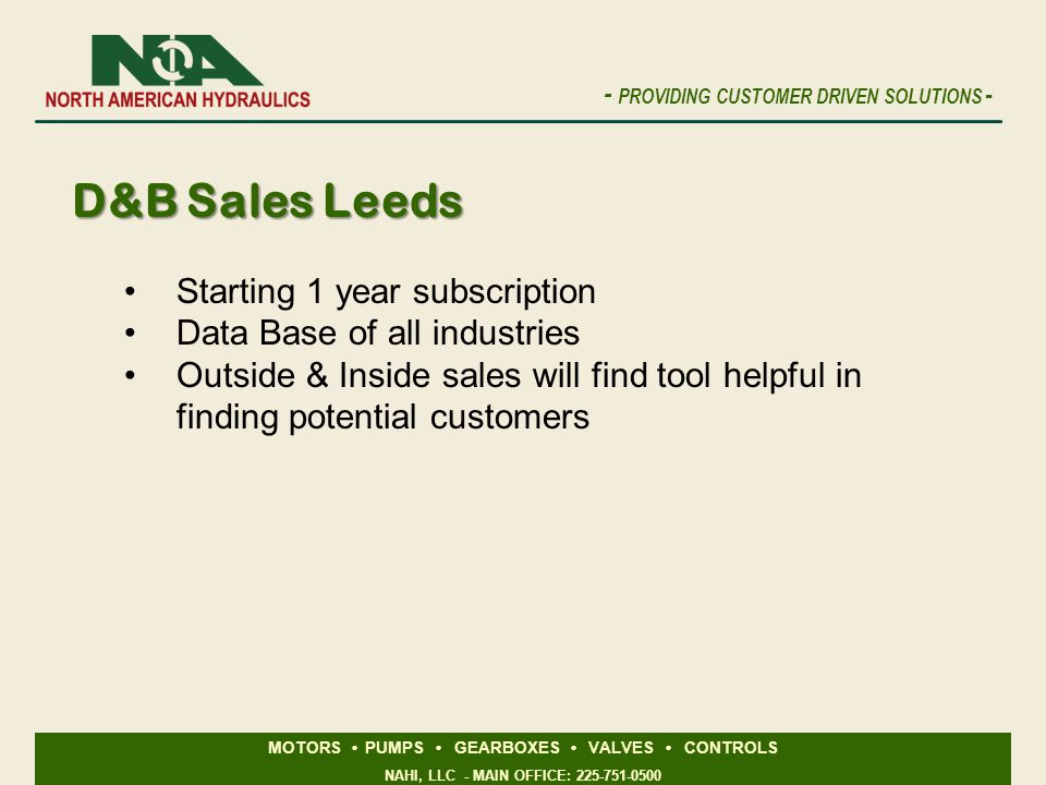 D&B Sales Leeds Starting 1 year subscription