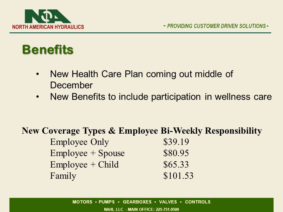 Benefits New Health Care Plan coming out middle of December