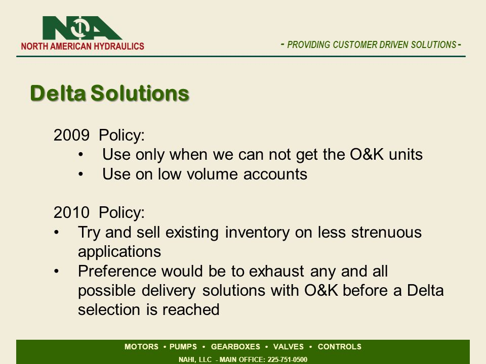 Delta Solutions 2009 Policy: