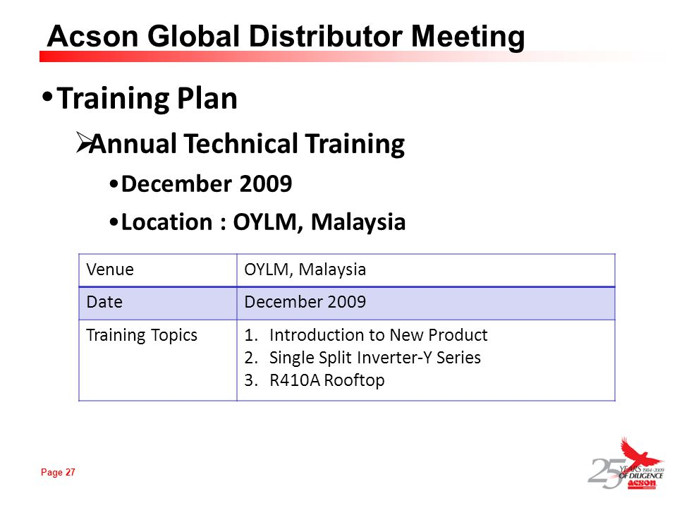 Training Plan Annual Technical Training December 2009