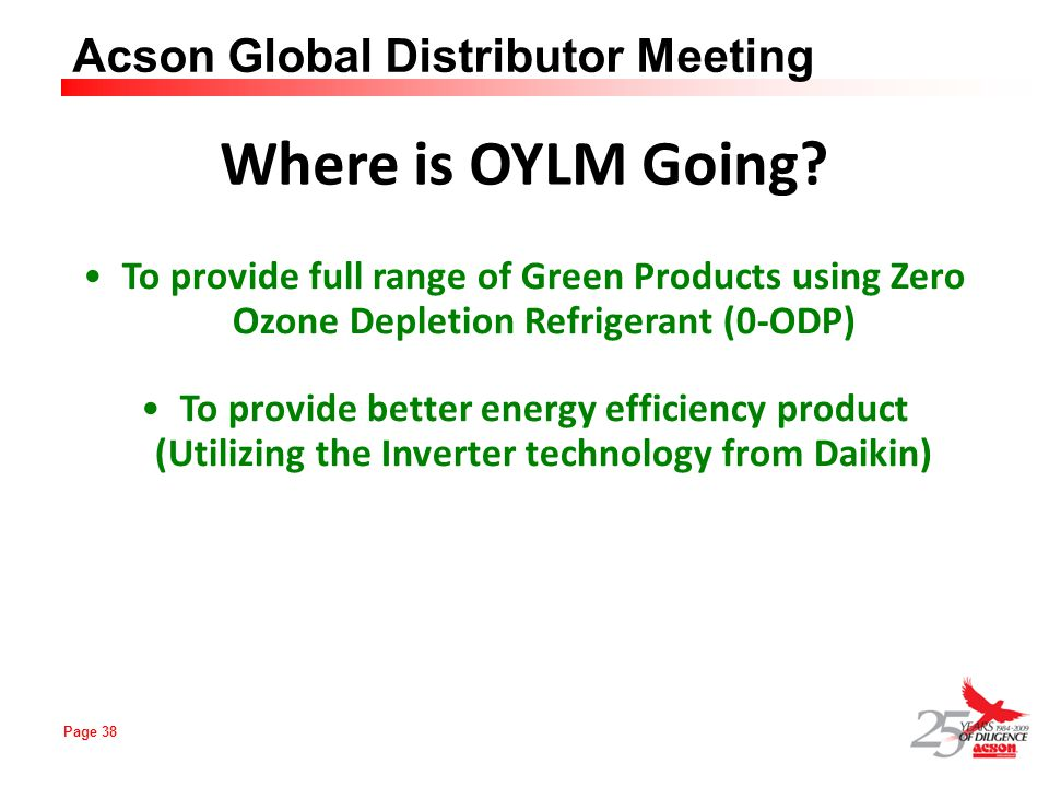 Where is OYLM Going To provide full range of Green Products using Zero Ozone Depletion Refrigerant (0-ODP)