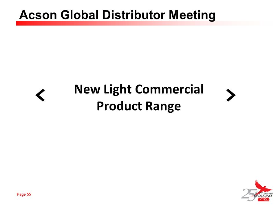 New Light Commercial Product Range < > 55