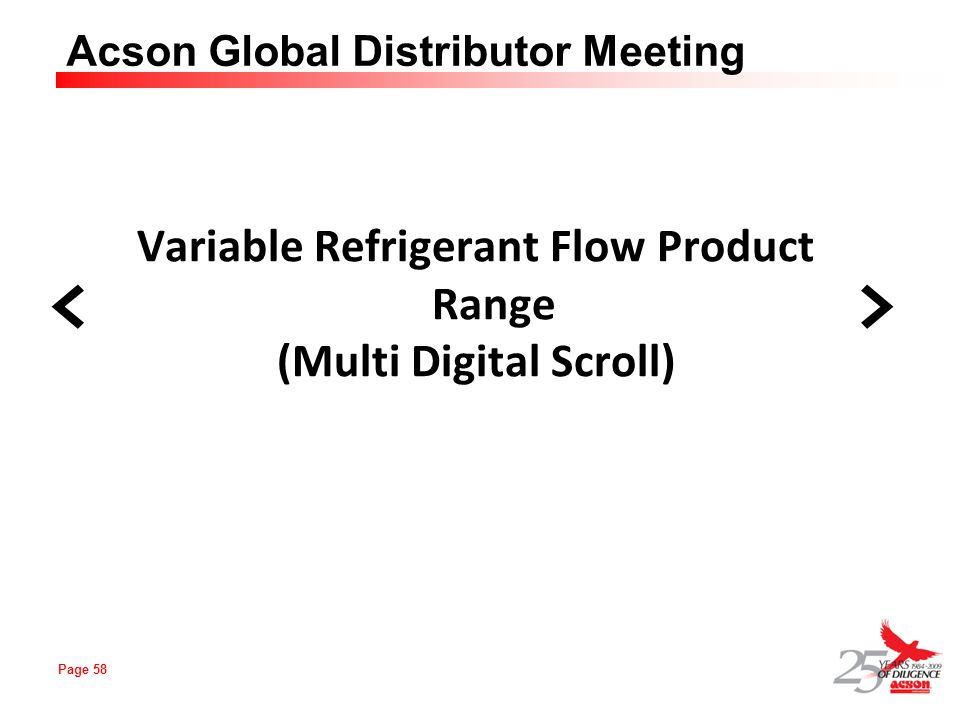 Variable Refrigerant Flow Product Range (Multi Digital Scroll)