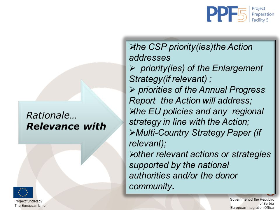 Rationale… Relevance with the CSP priority(ies)the Action addresses