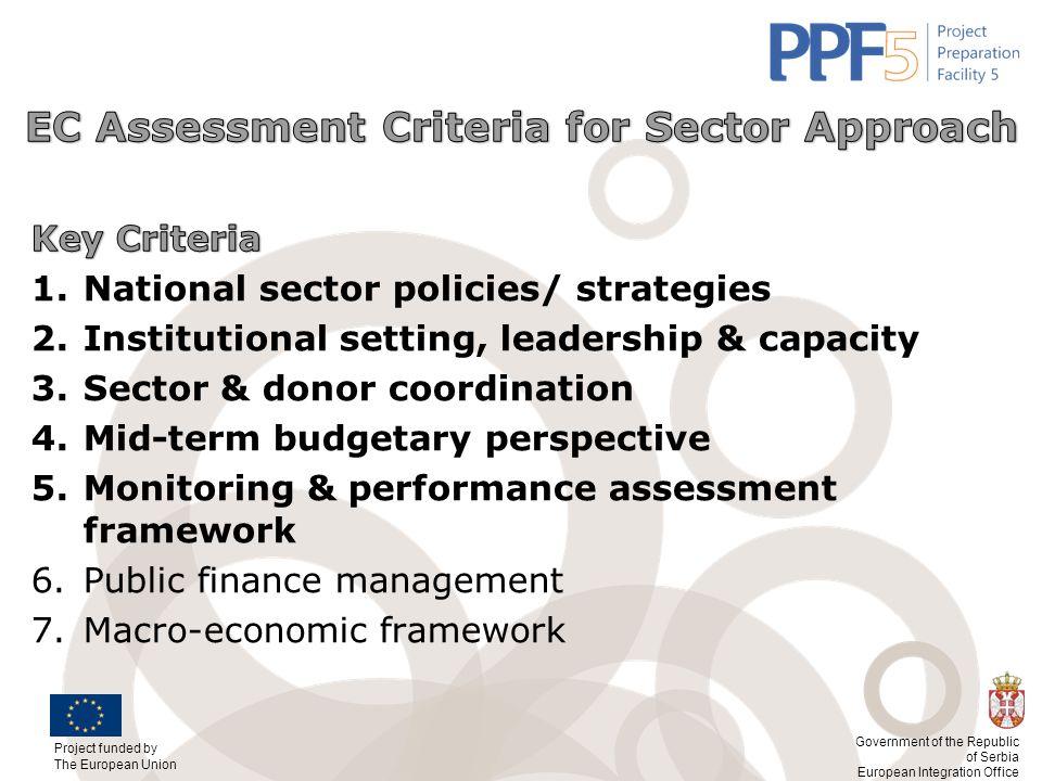 EC Assessment Criteria for Sector Approach