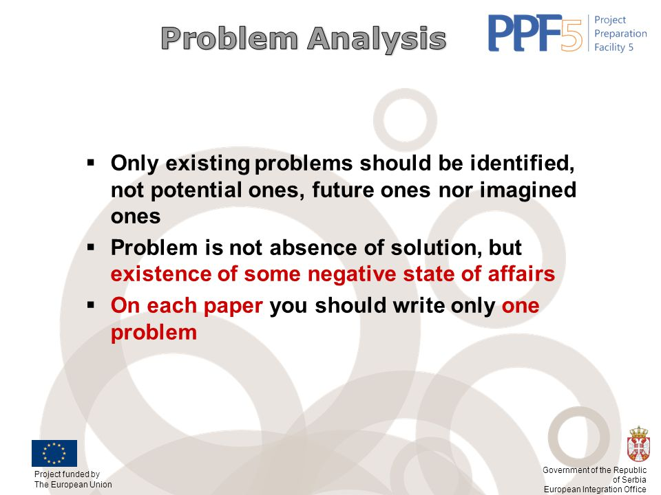 Problem Analysis Only existing problems should be identified, not potential ones, future ones nor imagined ones.