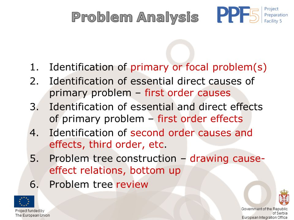 Problem Analysis Identification of primary or focal problem(s) Identification of essential direct causes of primary problem – first order causes.