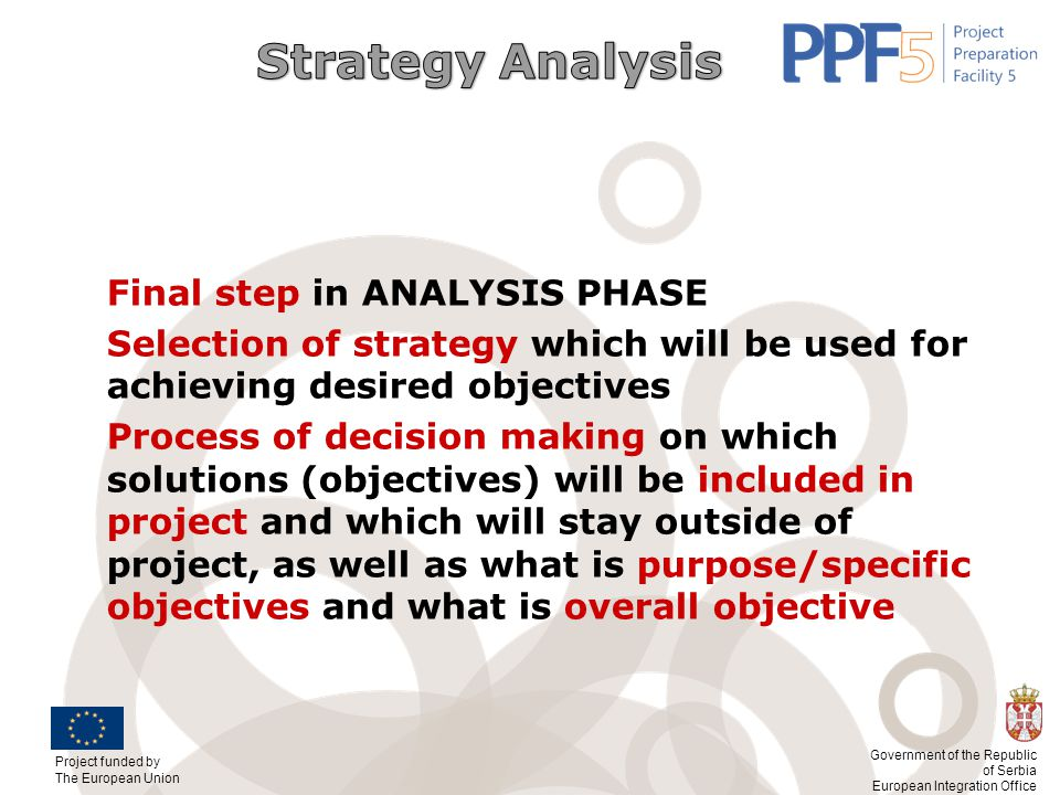 Strategy Analysis Final step in ANALYSIS PHASE. Selection of strategy which will be used for achieving desired objectives.