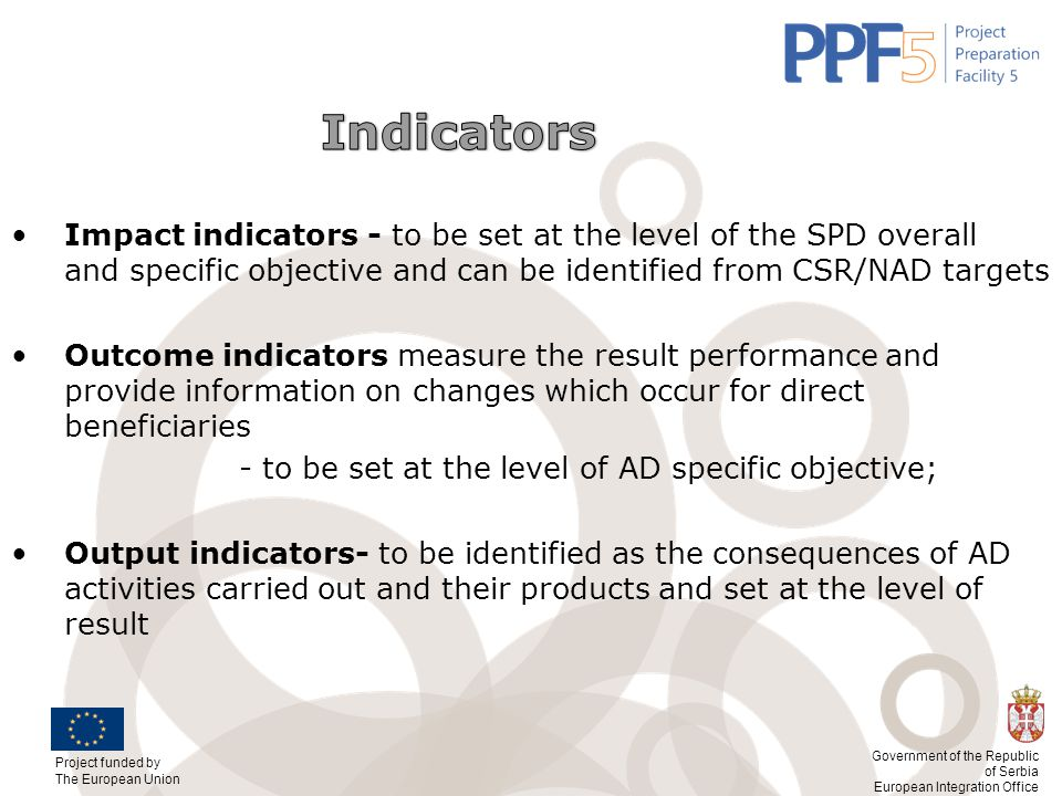Indicators Impact indicators - to be set at the level of the SPD overall and specific objective and can be identified from CSR/NAD targets.