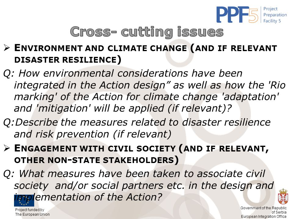 Cross- cutting issues Environment and climate change (and if relevant disaster resilience)