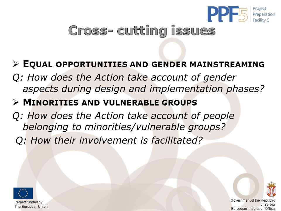 Cross- cutting issues Equal opportunities and gender mainstreaming