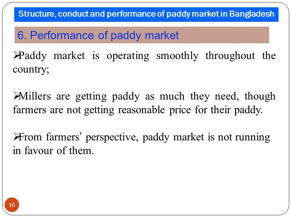 Structure, conduct and performance of paddy market in Bangladesh