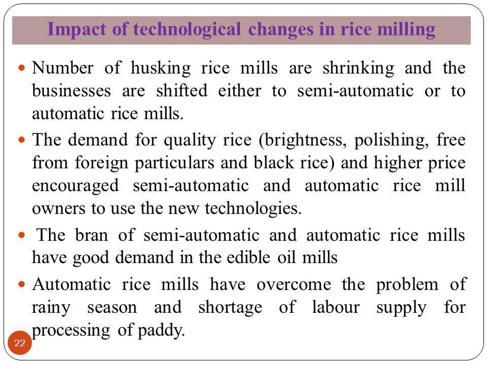 Impact of technological changes in rice milling