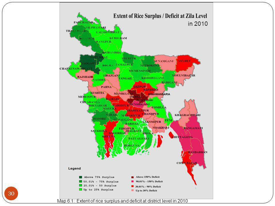 in 2010 Map 6.1: Extent of rice surplus and deficit at district level in 2010