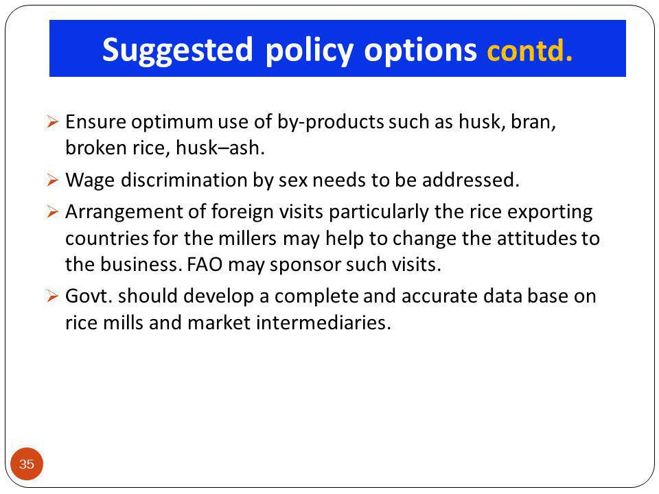 Suggested policy options contd.