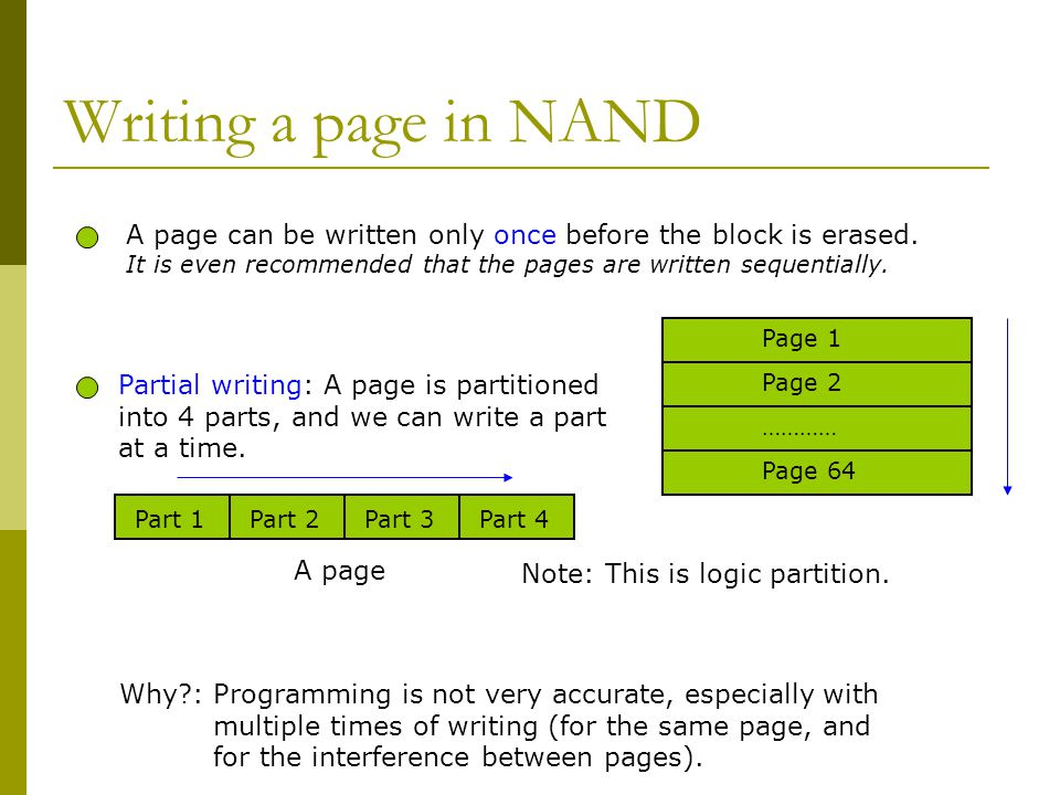 Writing a page in NAND A page can be written only once before the block is erased. It is even recommended that the pages are written sequentially.