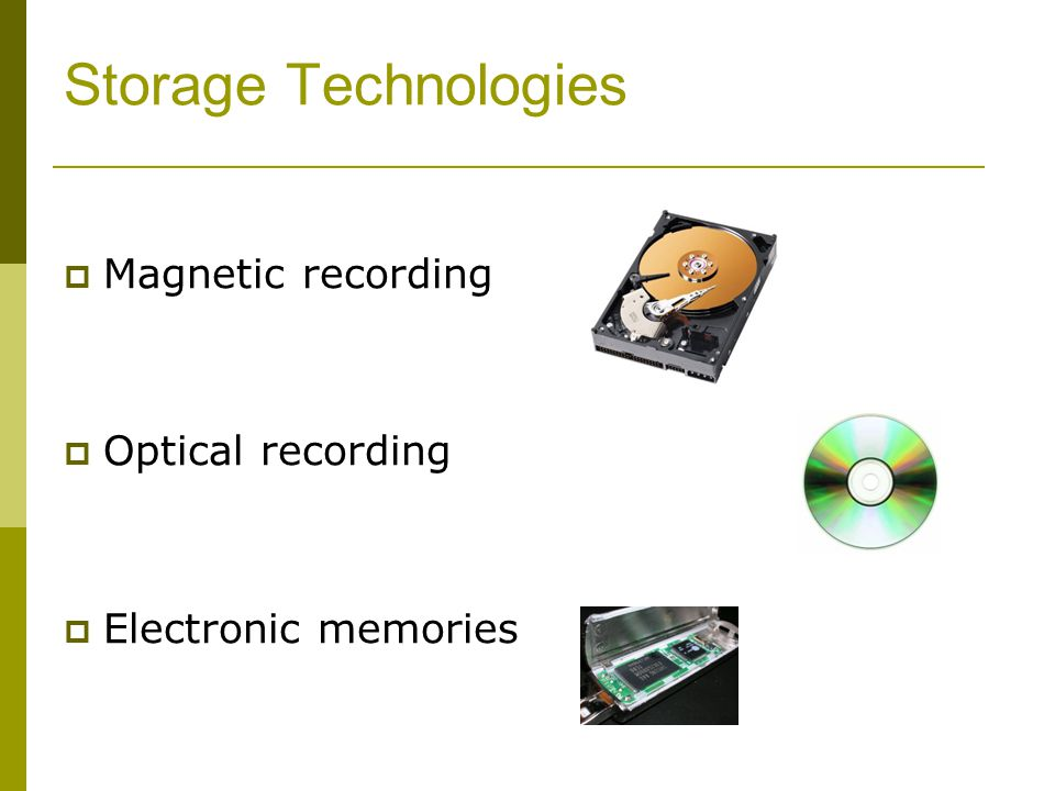Storage Technologies Magnetic recording Optical recording