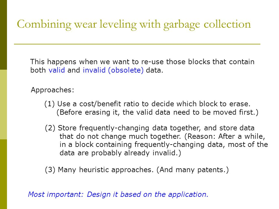 Combining wear leveling with garbage collection