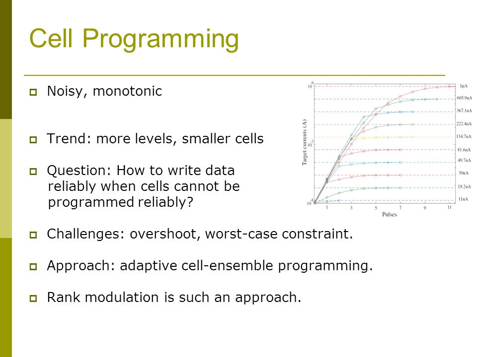 Cell Programming Noisy, monotonic Trend: more levels, smaller cells