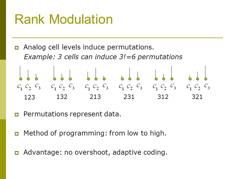 Rank Modulation Analog cell levels induce permutations.