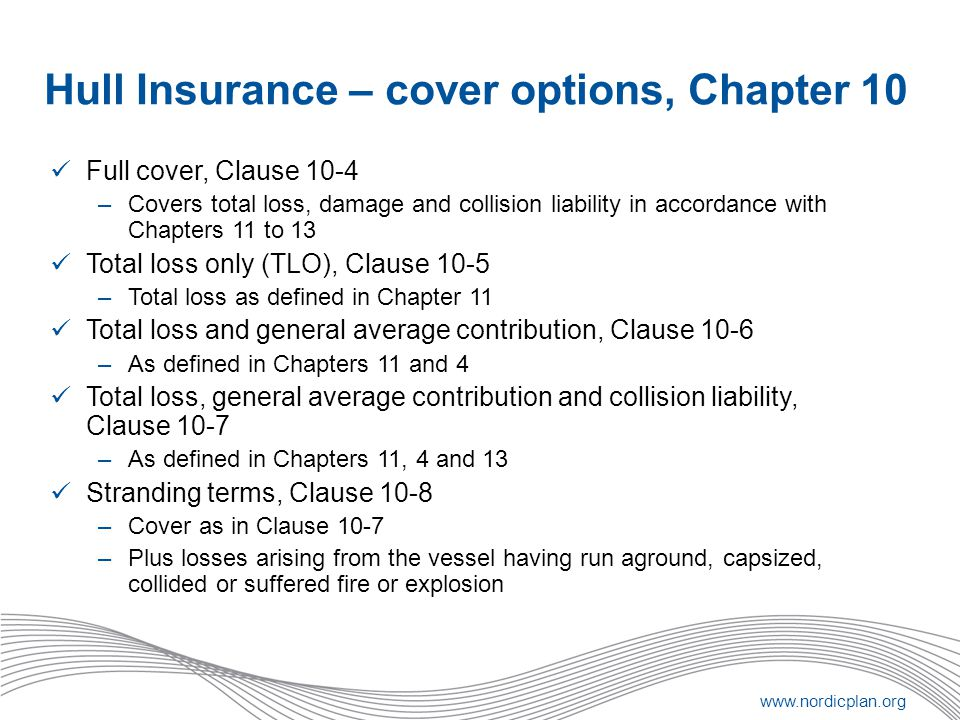 Hull Insurance – cover options, Chapter 10