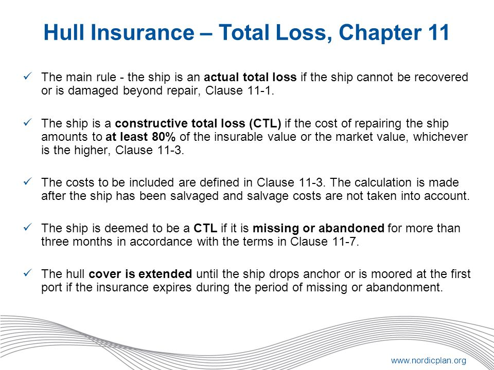 Hull Insurance – Total Loss, Chapter 11