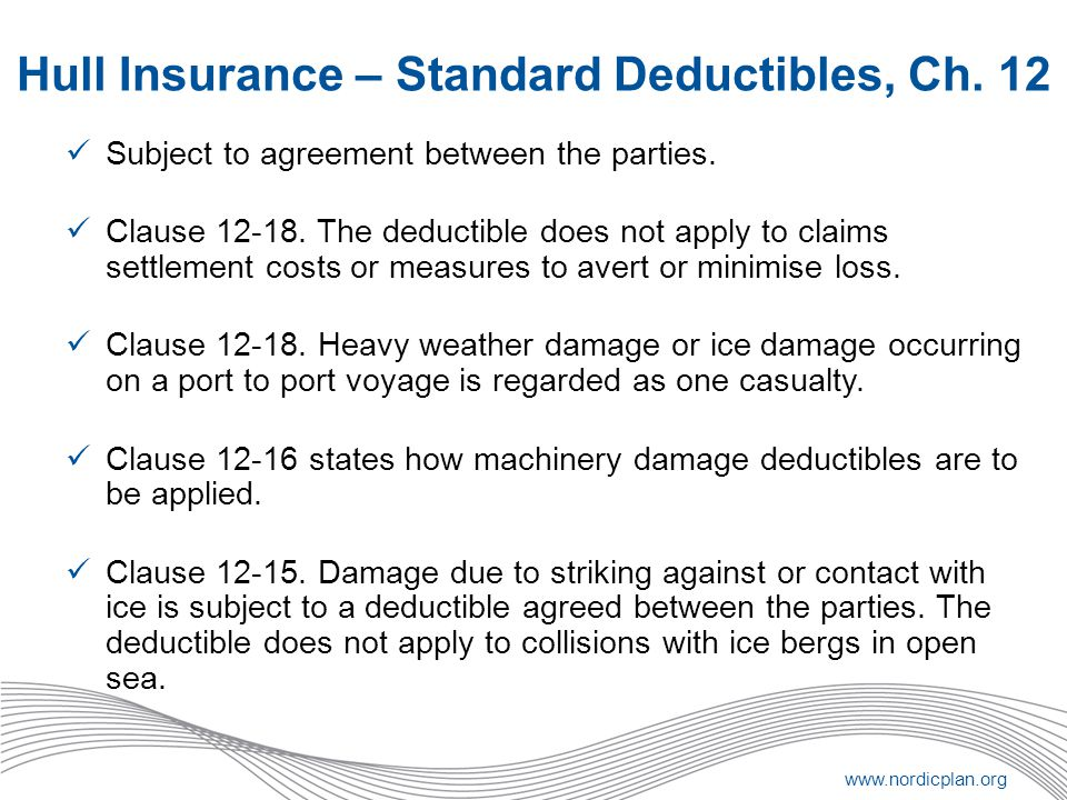 Hull Insurance – Standard Deductibles, Ch. 12