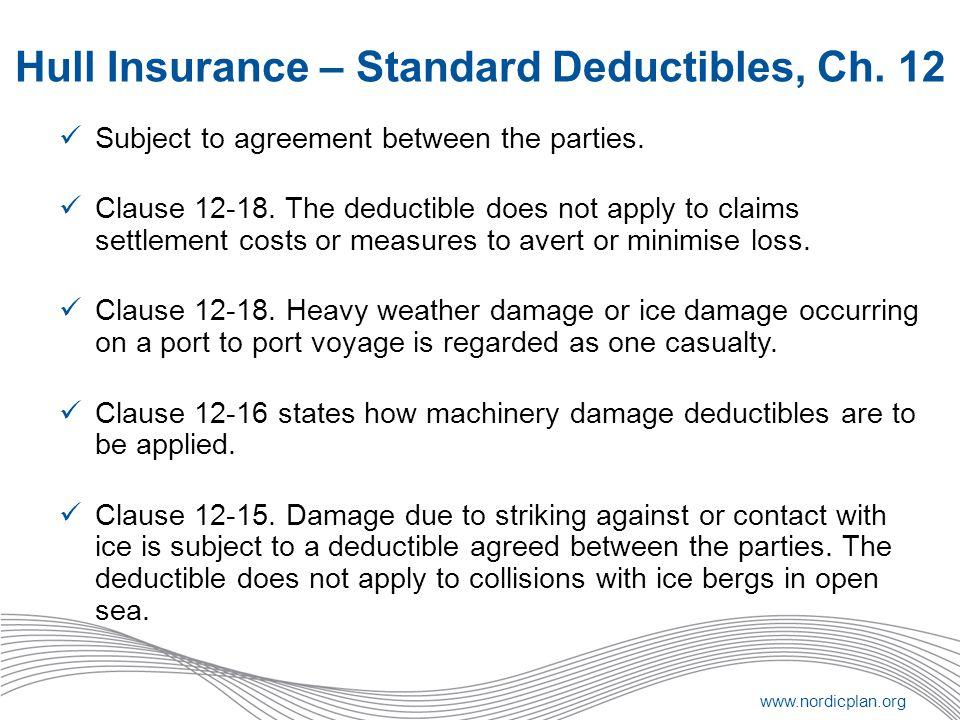 Hull Insurance – Standard Deductibles, Ch. 12