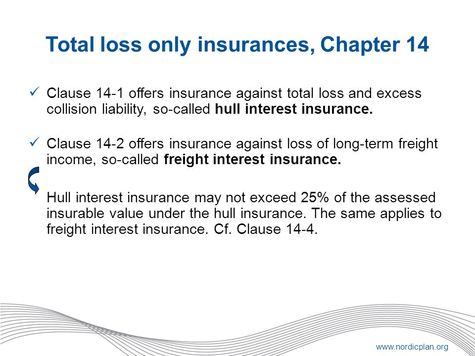 Total loss only insurances, Chapter 14