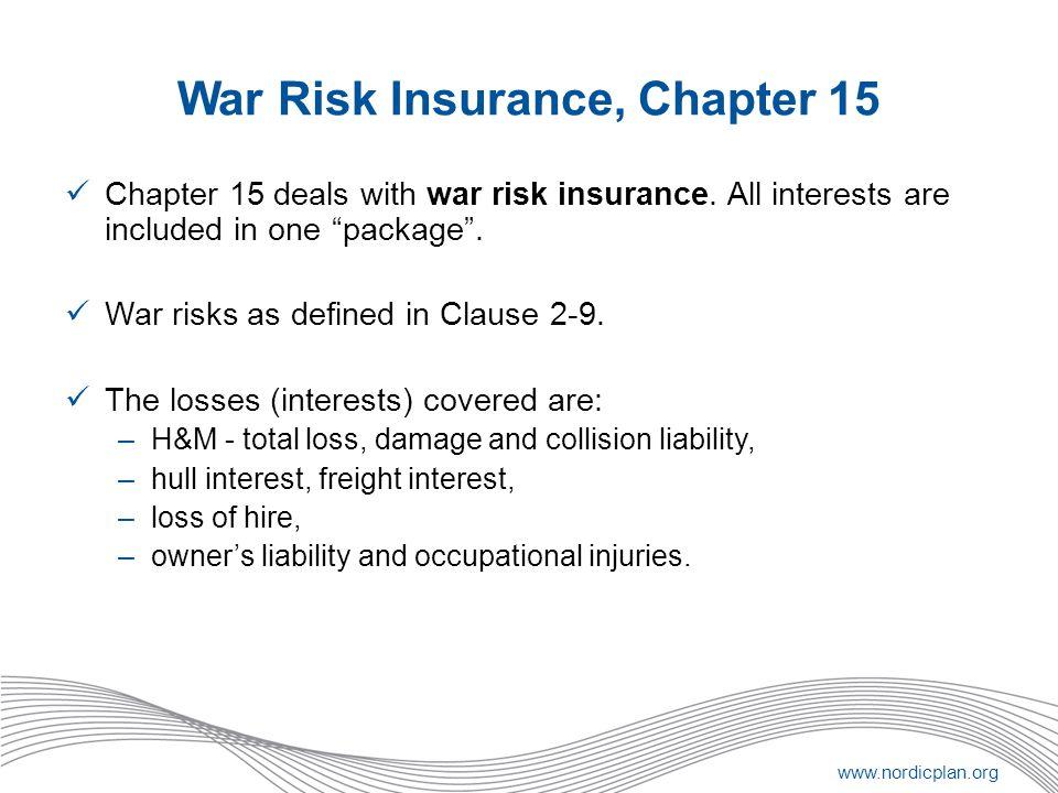 War Risk Insurance, Chapter 15