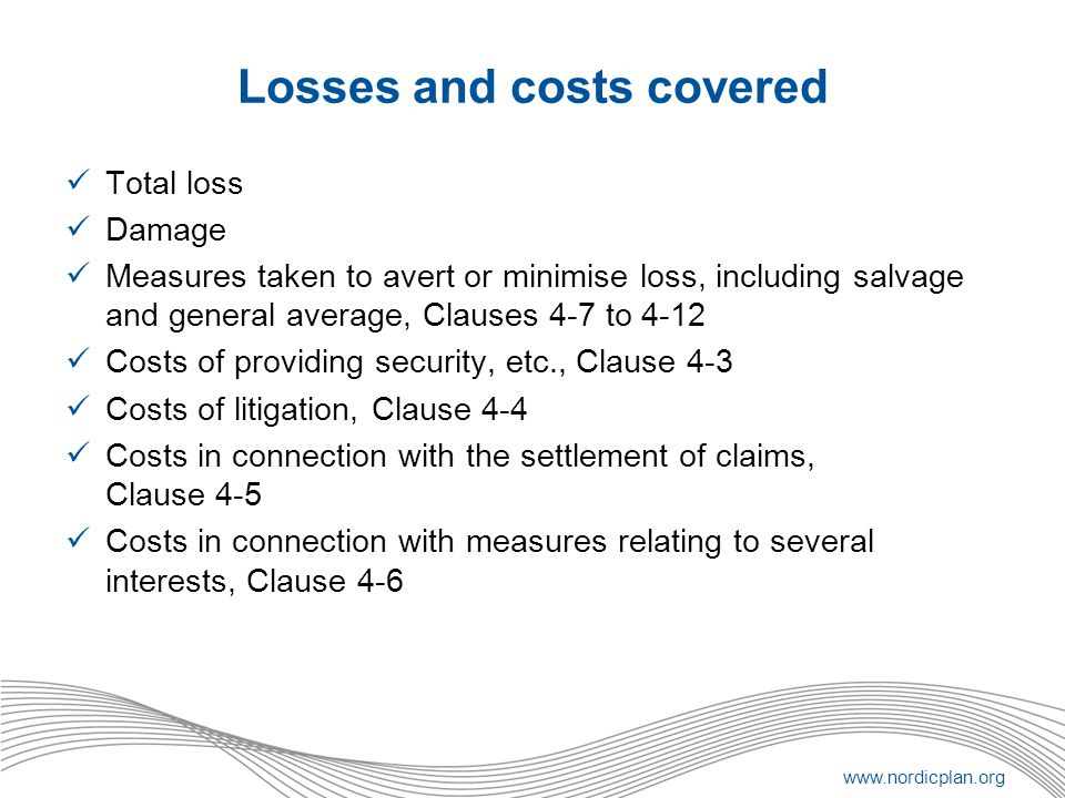 Losses and costs covered