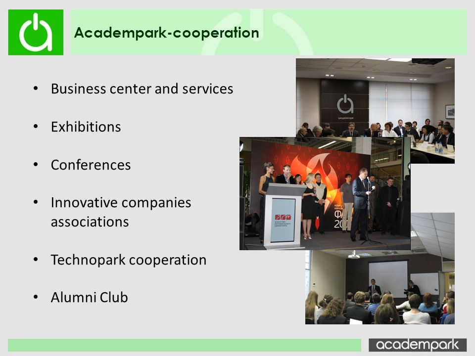 Business center and services Exhibitions Conferences