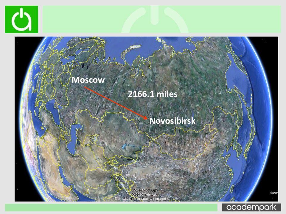 Moscow 2166.1 miles Novosibirsk