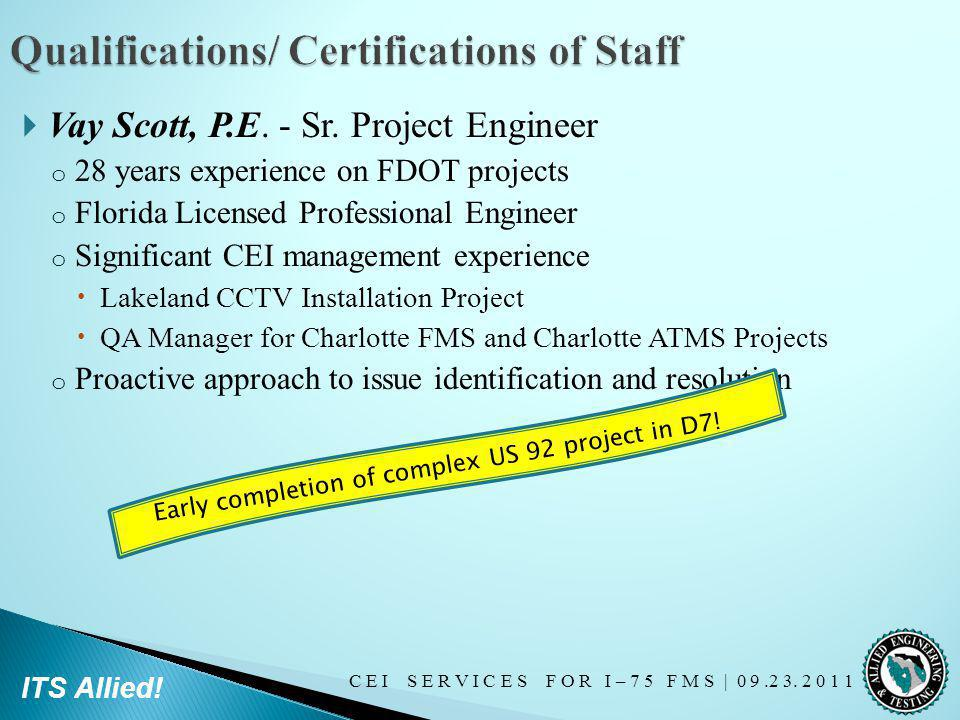 Qualifications/ Certifications of Staff