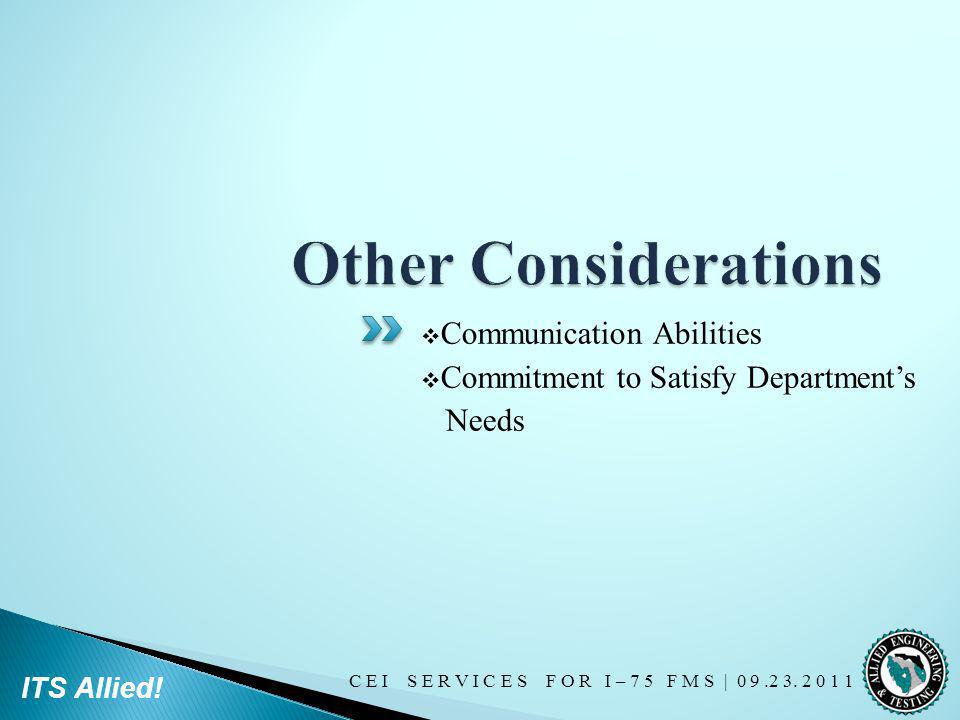 Other Considerations Communication Abilities