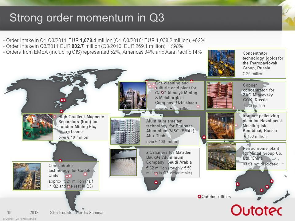 Strong order momentum in Q3