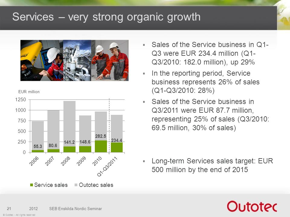 Services – very strong organic growth