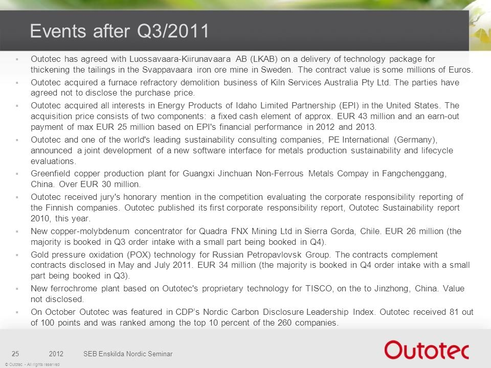 Events after Q3/2011