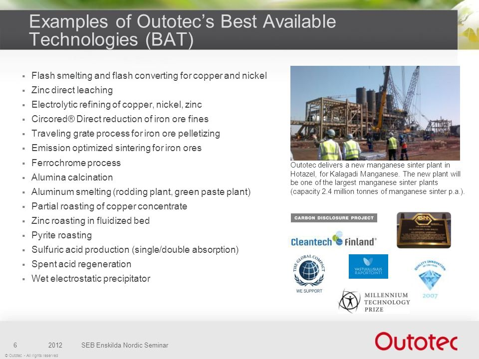 Examples of Outotec's Best Available Technologies (BAT)