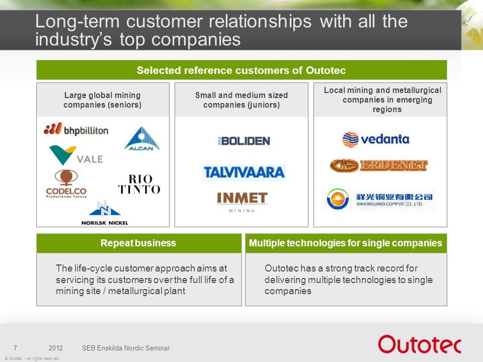 Long-term customer relationships with all the industry's top companies