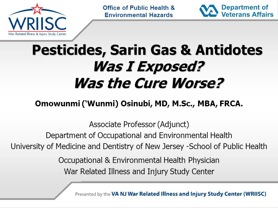 Pesticides, Sarin Gas & Antidotes Was I Exposed Was the Cure Worse