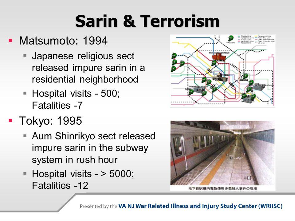Sarin & Terrorism Matsumoto: 1994 Tokyo: 1995
