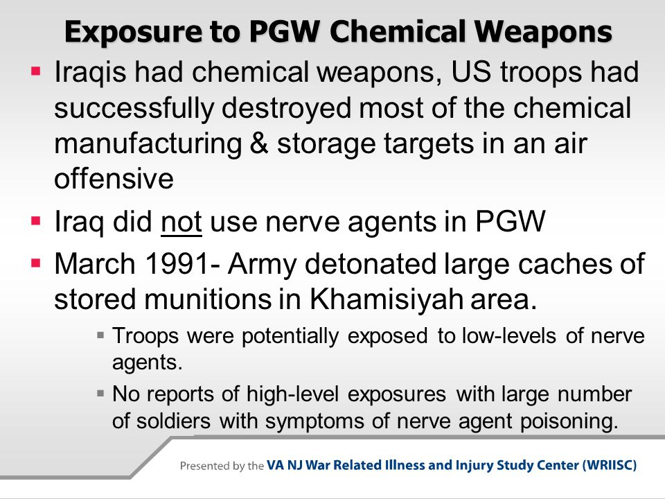 Exposure to PGW Chemical Weapons