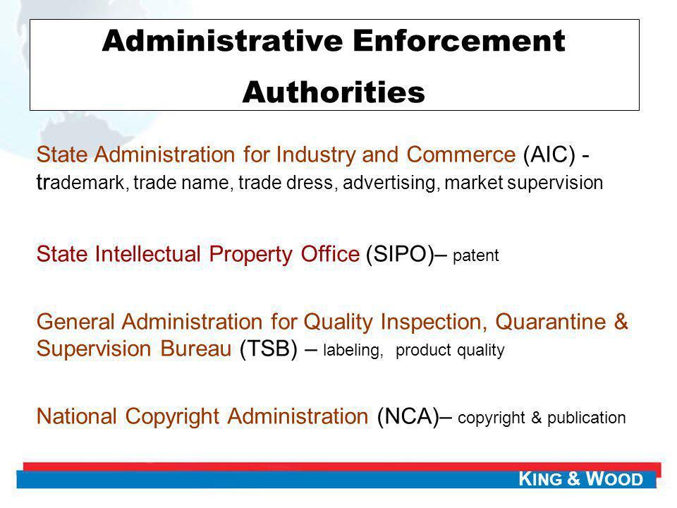 Administrative Enforcement Authorities