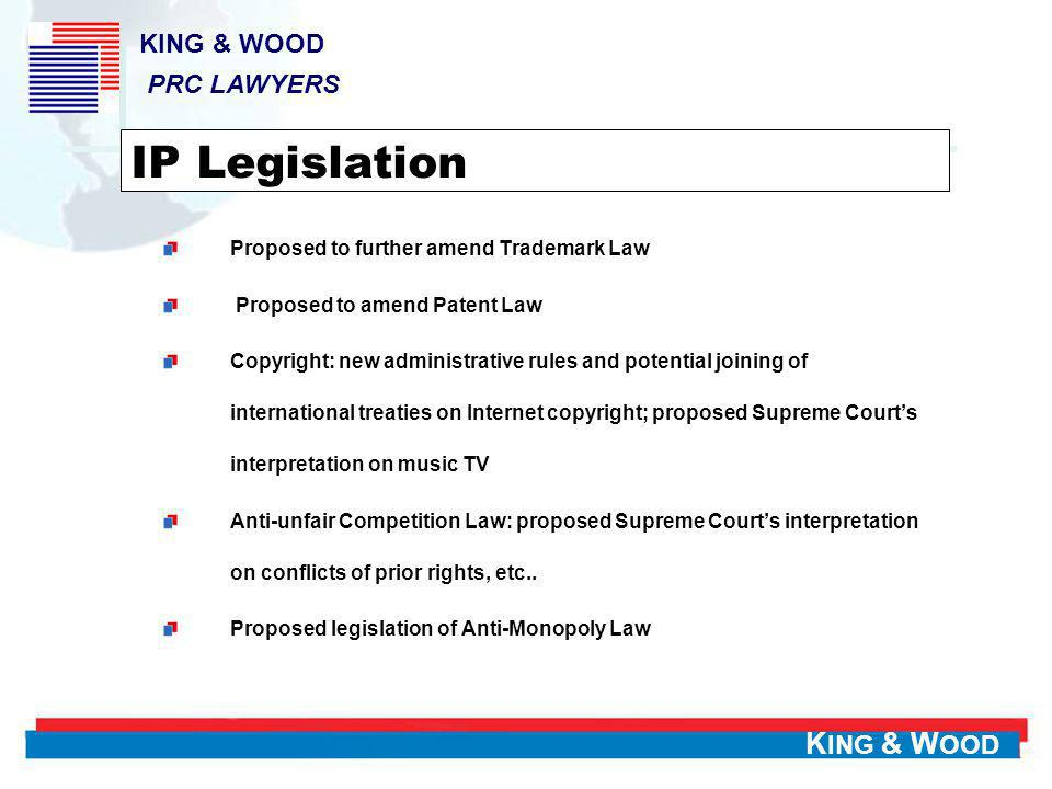 IP Legislation KING & WOOD PRC LAWYERS