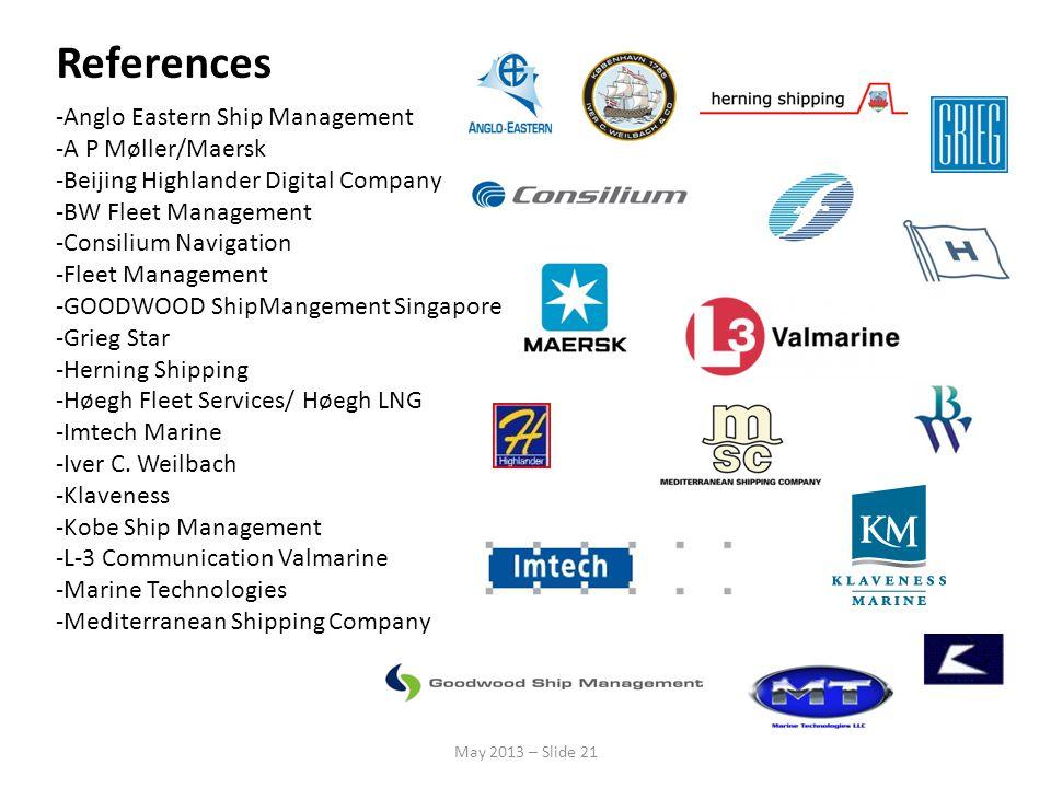 References -Anglo Eastern Ship Management -A P Møller/Maersk