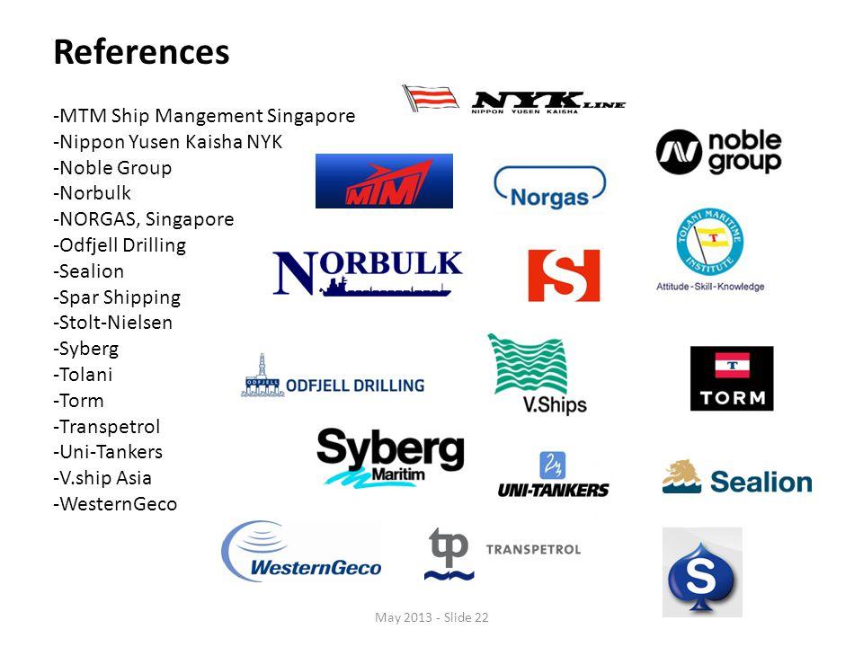 References -MTM Ship Mangement Singapore -Nippon Yusen Kaisha NYK