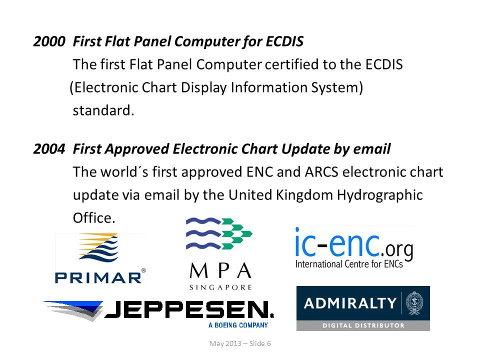 2000 First Flat Panel Computer for ECDIS The first Flat Panel Computer certified to the ECDIS (Electronic Chart Display Information System) standard. 2004 First Approved Electronic Chart Update by email The world´s first approved ENC and ARCS electronic chart update via email by the United Kingdom Hydrographic Office.