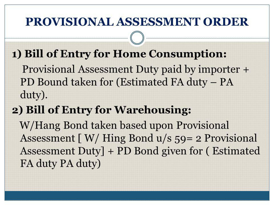 PROVISIONAL ASSESSMENT ORDER