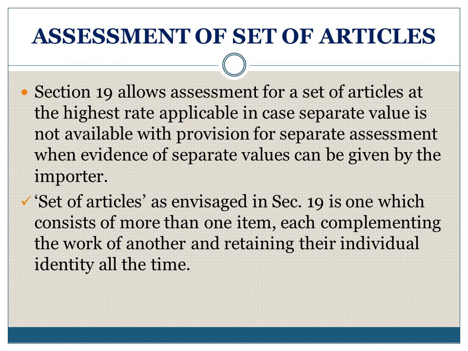 ASSESSMENT OF SET OF ARTICLES